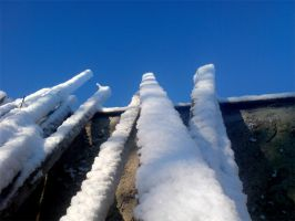 Snow on Old Beams 01 by darkhoodness