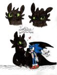 Toothless and Sonic by TuxSonic