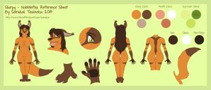 Slurpy - Nobblefox Reference Sheet (Clean) by Sarukai-Tosinoku