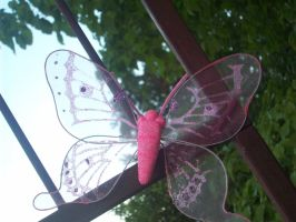 Pink Wire Butterfly by cheyxlove
