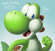 Yoshi Says Happy Birthday! by EarthGwee