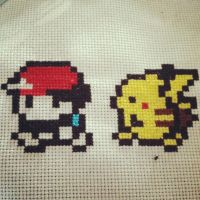 Ash and Pikachu Cross-Stitch by Kai-sama