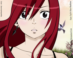 Erza Scarlet -- colored lineart by DemmieHeartfilia