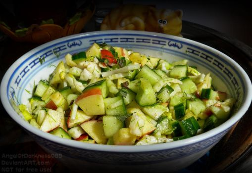 Fennel salad with apple, cucumber and fresh mint by AngelOfDarkness089