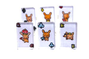 Hand Drawn Fancy Bunny Poker Card Rings by PinkChocolate14