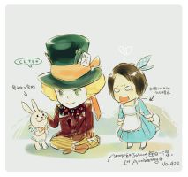 Hatter and PaPaRabbit by amoykid