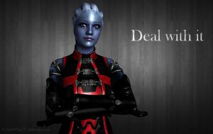 Liara in red outfit *Download* by BrainKiller20