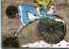 Alice's Bicycle ATC by LauraTringaliHolmes