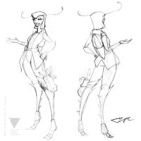 Loura Turn Around (Uncolored) by creon77
