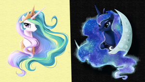 Wallpaper Luna Celestia by Pinkiemina