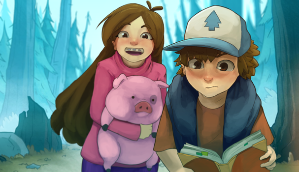 Dipper and Mabel by Chilimanic