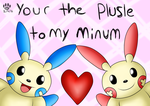Minum and Plusle by animebluekittie