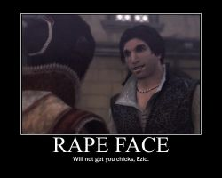 Ezio's Rape Face by burnfist23