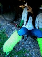 Green monster fur fluffies by candiedLapin