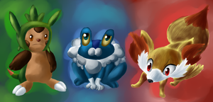 Pokemon X / Y Starters by Chicorii