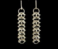 Chainmaille Earrings by obsidiandevil