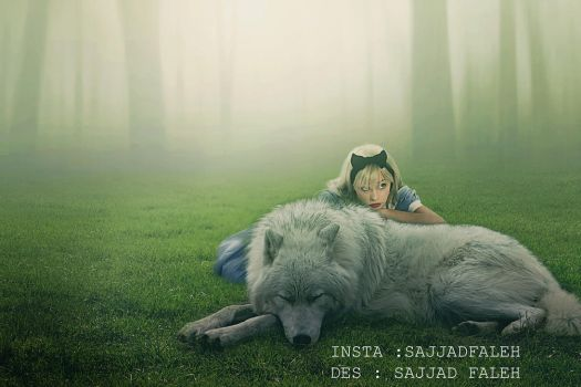 Photoshop manipulation | The girl and the wolf by sajjadfaleh