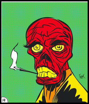 Red Skull Retro Sticker by FlapJoy