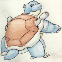 Blastoise Watercolor by Justin-Hoffman