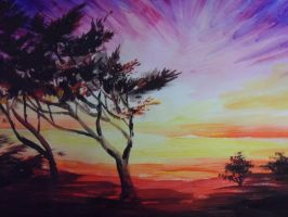 African Sunset by Jenny-art-studio
