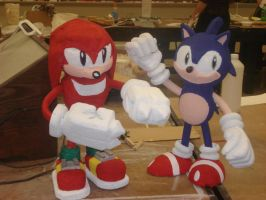 knuckles and sonic by AmericanMadeC87