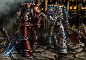 Argel Tal and Kharn by Bra1nEater