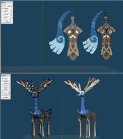 xerneas and honedge papercraft by javierini