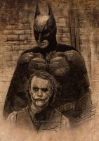 Batman versus Joker by aaronwty