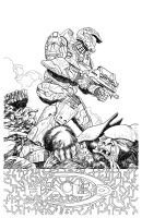 Master Chief-Halo Line Art by BrettBarkley