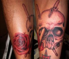 Drummer Skull and Rose Tattoo by RockabillyReese