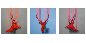 Wild Stag Triptych by LouiseMcNaught