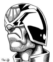 Judge Dredd Black and White by Rustyoldtown