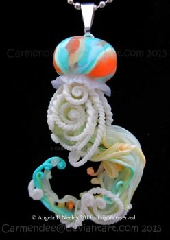 peachy green jellyfish pendant by carmendee