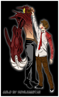 Tsukune VS Mido by HowlingStar
