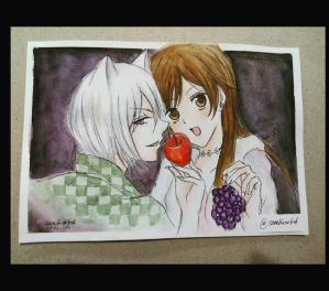 Tomoe X Nanami - watercolor painting by Cane-the-artist
