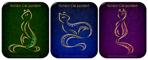 Golden Cat pendants by Rittik-Designs