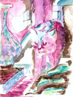 Cat among vases, in paint by Lechtonen