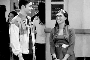 Jim and Mayim Smiling at each other gif by rubyanjel