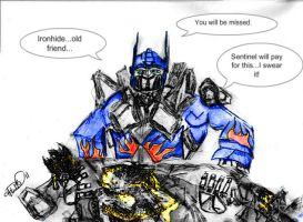 Optimus over the fallen Ironhide by Byrdman-08
