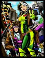 Gambit and Rogue by VannilaGorrila