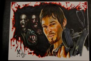 Daryl Dixon from the Walking Dead Marker drawing by Mikeashworthtattoos