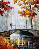 Gray bridge oil painting on canvas by L.Afremov by Leonidafremov