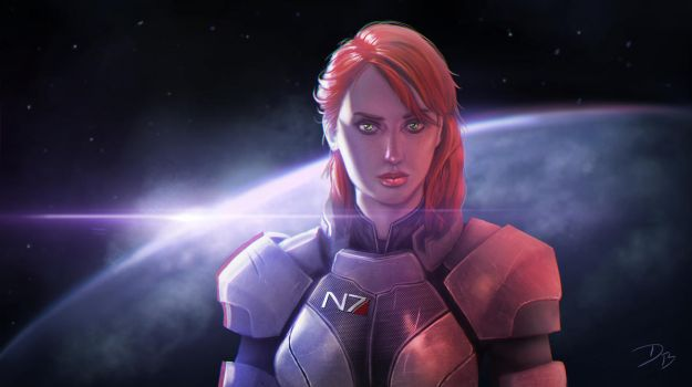Commander Jane Shepard of Mass Effect by DougBurbridgeArt