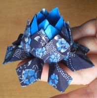 Chic Blue Origami Lotus B by pyrogina