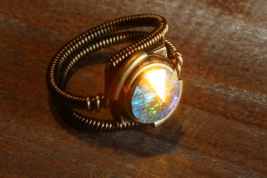 Steampunk ring wth Aurora Borealis Crystal by CatherinetteRings