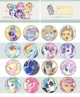 My Little Pony 25mm Badge Sets by GreyRadian