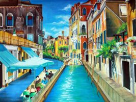 Gouche Painting Venice Italy by ffdiaries958