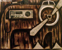 grizzly bear sea plane cb radio painting by TOMMERVIK