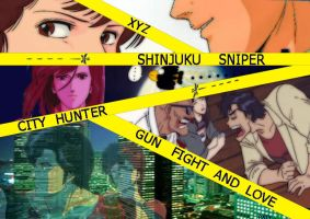 shinjuku, gun, fight and love by xyzpaty