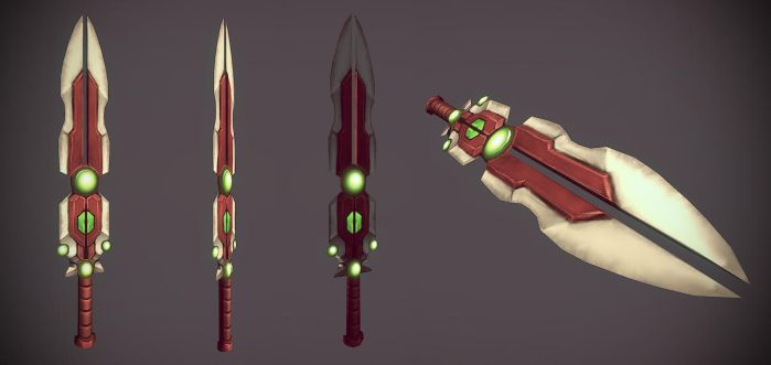 hand painted low poly sword by spybg